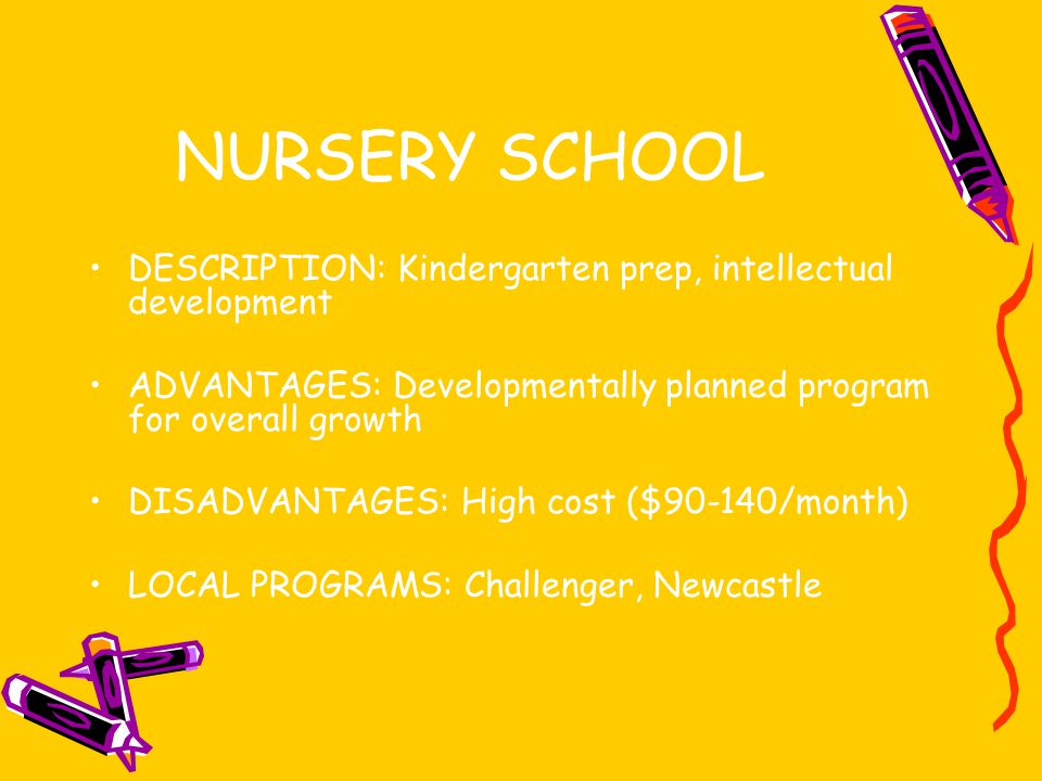 NURSERY SCHOOL DESCRIPTION: Kindergarten prep, intellectual development ADVANTAGES: Developmentally planned program for overall growth DISADVANTAGES: High cost ($90-140/month) LOCAL PROGRAMS: Challenger, Newcastle