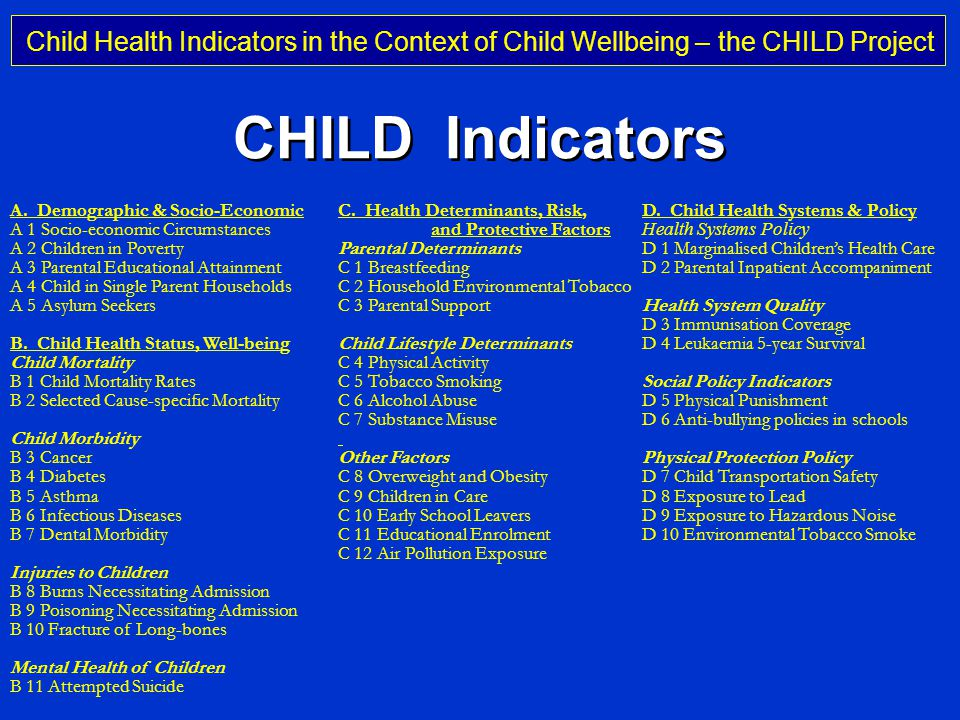 Child Health Indicators in the Context of Child Wellbeing – the CHILD Project Professor Michael Rigby Keele University, UK CHILD Indicators A.