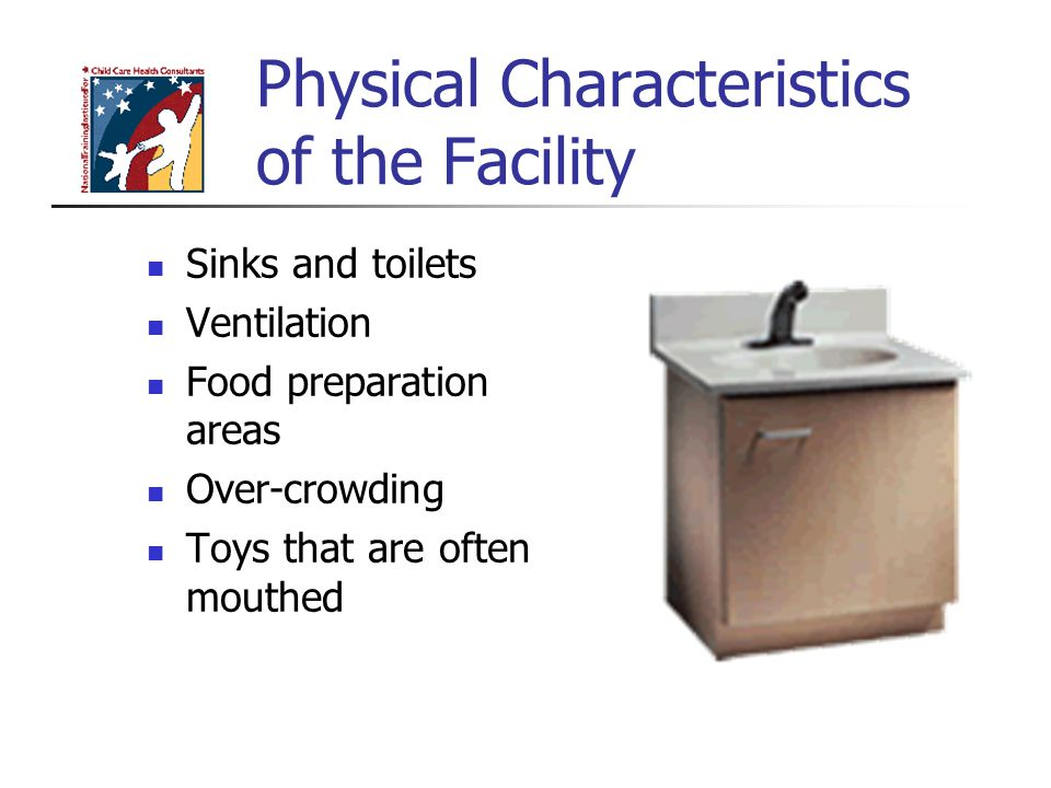 Physical Characteristics of the Facility Sinks and toilets Ventilation Food preparation areas Over-crowding Toys that are often mouthed