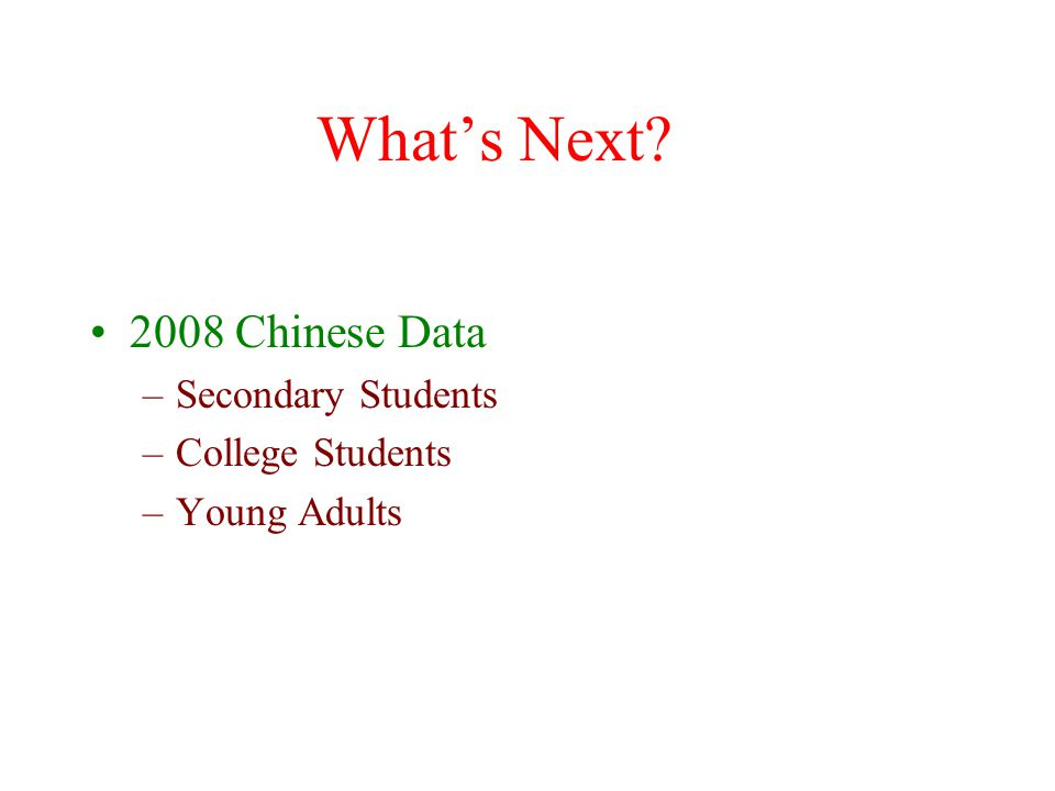 What's Next? 2008 Chinese Data –Secondary Students –College Students –Young Adults