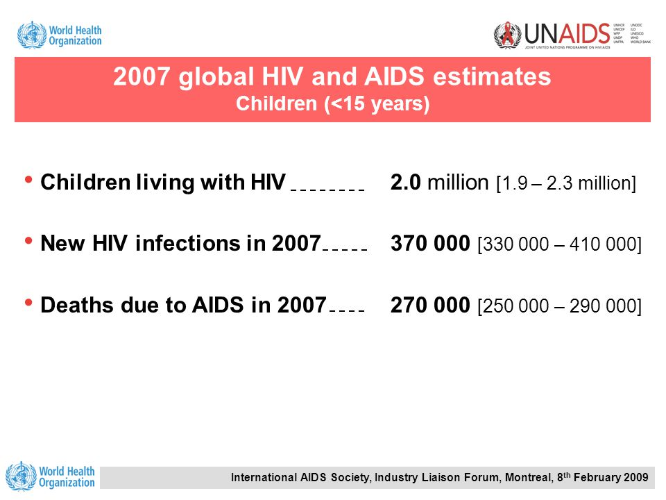 International AIDS Society, Industry Liaison Forum, Montreal, 8 th February 2009 Children living with HIV2.0 million [1.9 – 2.3 million] New HIV infections in 2007370 000 [330 000 – 410 000] Deaths due to AIDS in 2007270 000 [250 000 – 290 000] 2007 global HIV and AIDS estimates Children (<15 years)