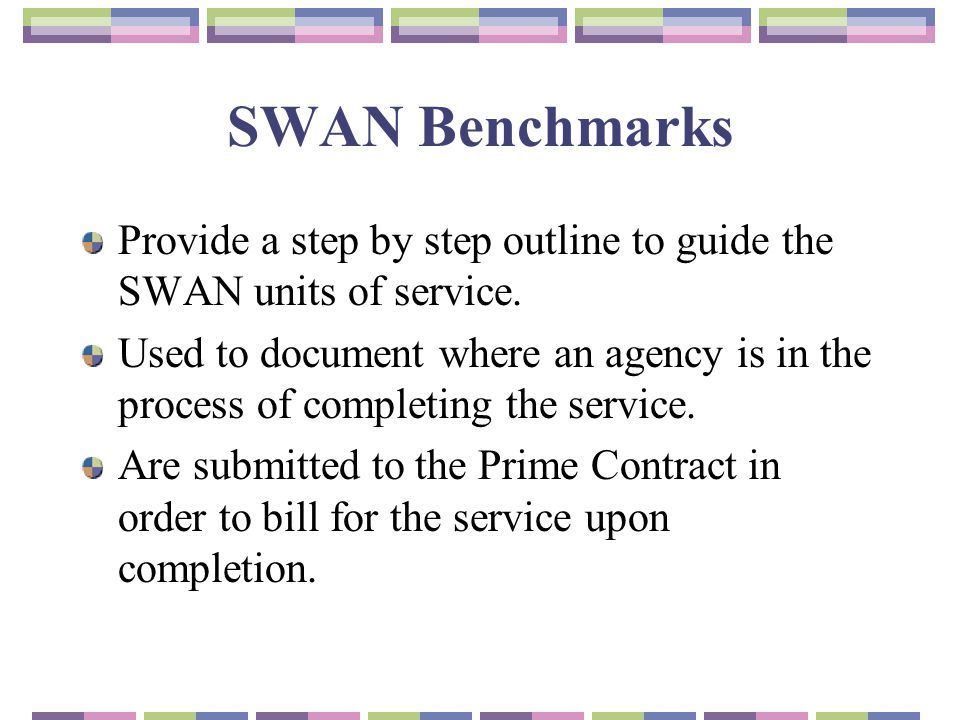 SWAN Benchmarks Provide a step by step outline to guide the SWAN units of service.