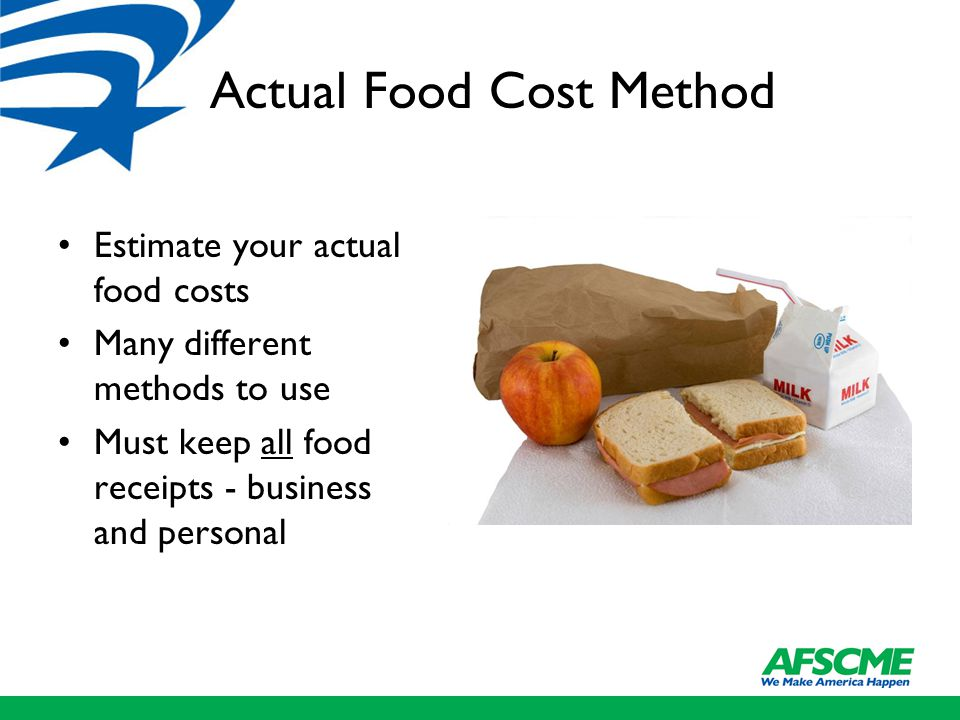 Actual Food Cost Method Estimate your actual food costs Many different methods to use Must keep all food receipts - business and personal