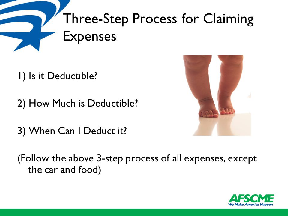 Three-Step Process for Claiming Expenses 1) Is it Deductible.