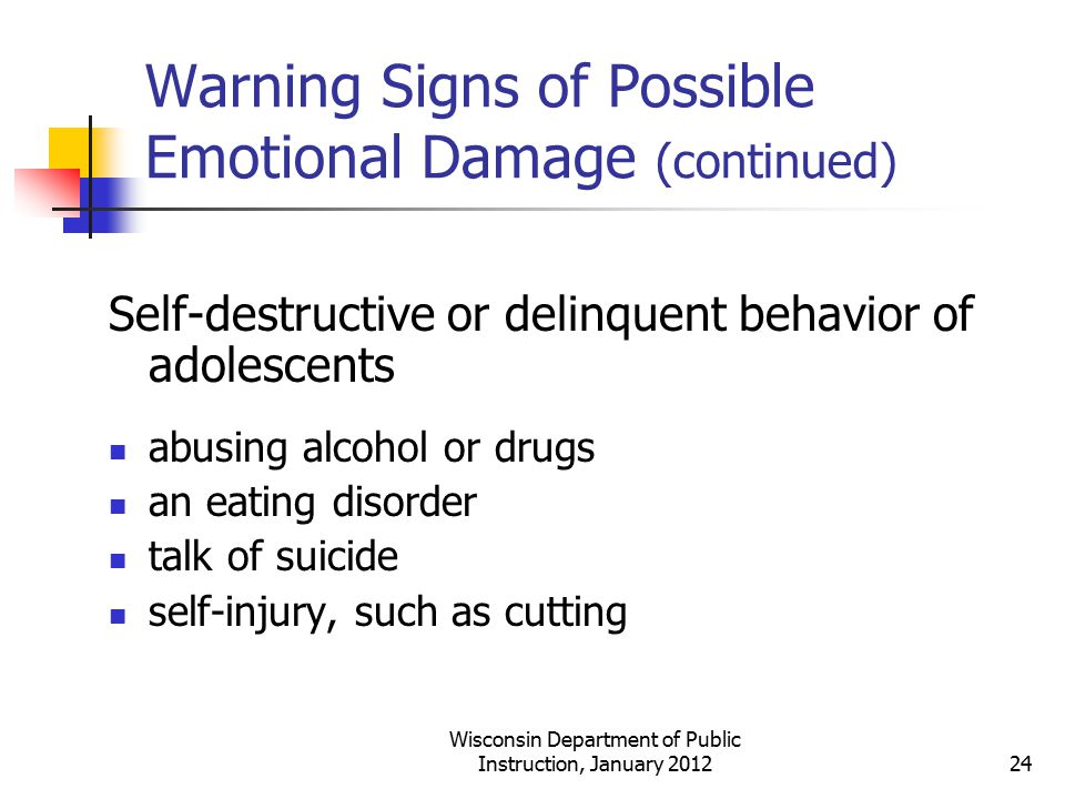 Warning Signs of Possible Emotional Damage (continued) Self-destructive or delinquent behavior of adolescents abusing alcohol or drugs an eating disor