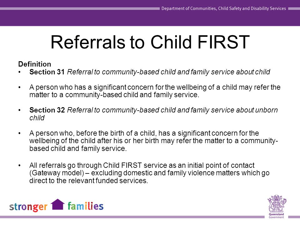 Referral behaviour The Family Support Alliance members worked with the health, police and education workforce to assist them in changing their reporting behaviours.
