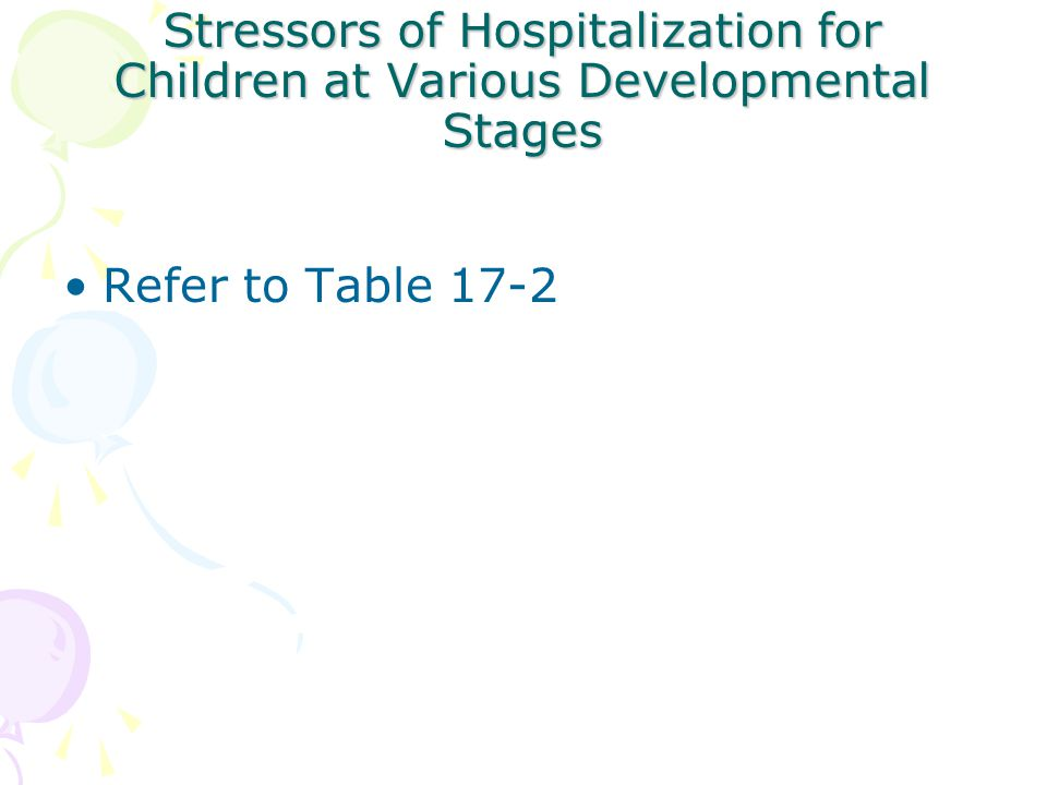 Nursing strategies to Improve the Illness/ Hospitalization Experience of Parents/ Children Hospital (con't) –Educational needs Individual education plan (IEP) –Teaching Partnering w/ parents