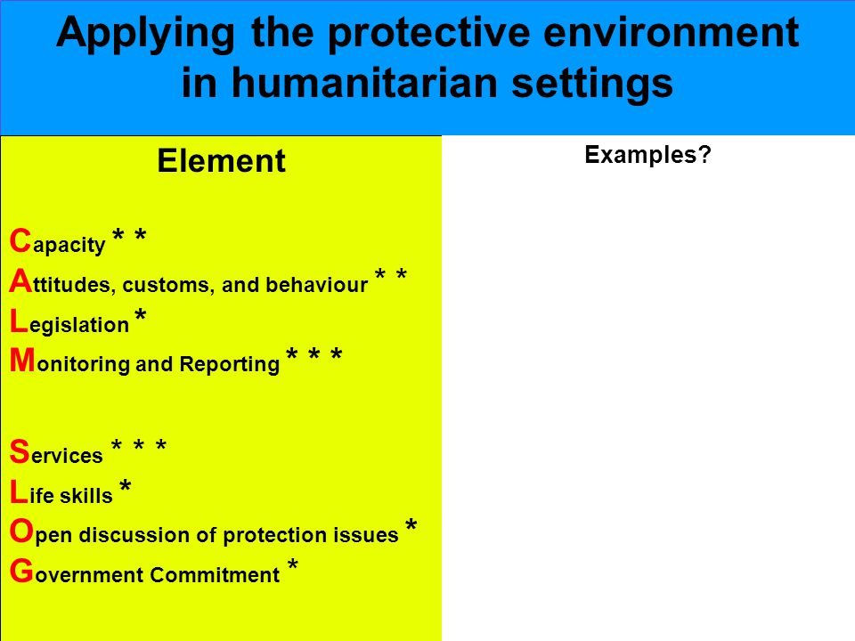 Applying the protective environment in humanitarian settings Element C apacity * * A ttitudes, customs, and behaviour * * L egislation * M onitoring and Reporting * * * S ervices * * * L ife skills * O pen discussion of protection issues * G overnment Commitment * Examples