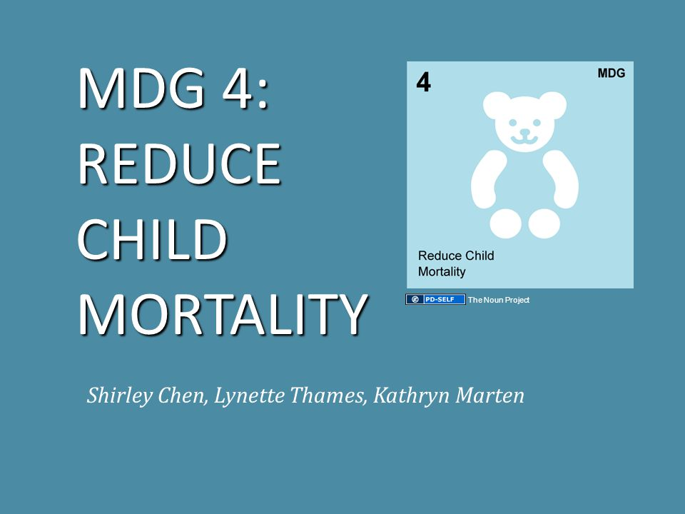 THE GOAL Target 5: Reduce by two-thirds, between 1990 and 2015, the under-five mortality rate Indicators: 13.