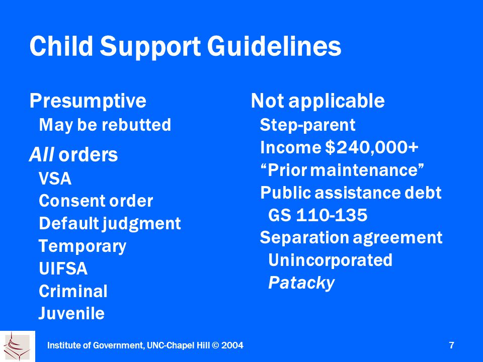 Institute of Government, UNC-Chapel Hill © Child Support Guidelines Presumptive May be rebutted All orders VSA Consent order Default judgment Temporary UIFSA Criminal Juvenile Not applicable Step-parent Income $240,000+ Prior maintenance Public assistance debt GS Separation agreement Unincorporated Patacky