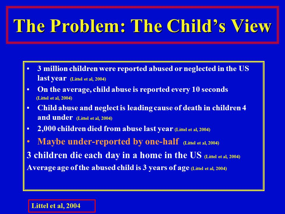 The Problem: The Child's View 3 million children were reported abused or neglected in the US last year (Littel et al, 2004) On the average, child abuse is reported every 10 seconds (Littel et al, 2004) Child abuse and neglect is leading cause of death in children 4 and under (Littel et al, 2004) 2,000 children died from abuse last year (Littel et al, 2004) Maybe under-reported by one-half (Littel et al, 2004) 3 children die each day in a home in the US (Littel et al, 2004) Average age of the abused child is 3 years of age (Littel et al, 2004) Littel et al, 2004