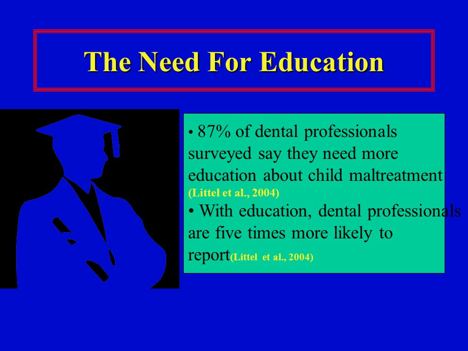 The Need For Education 87% of dental professionals surveyed say they need more education about child maltreatment (Littel et al., 2004) With education, dental professionals are five times more likely to report (Littel et al., 2004)