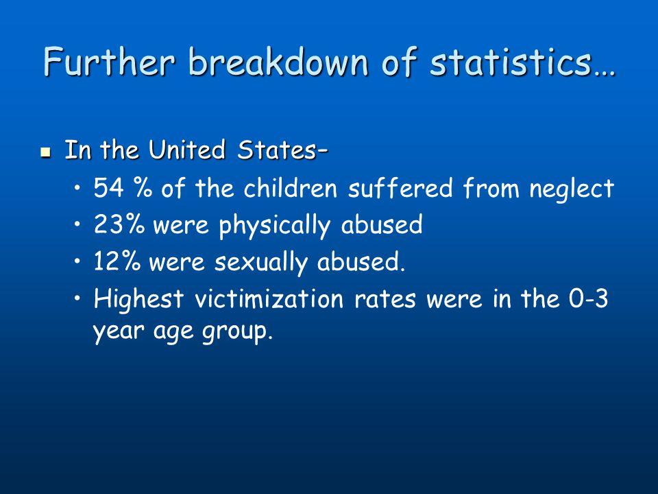 Further breakdown of statistics… In the United States - In the United States - 54 % of the children suffered from neglect 23% were physically abused 12% were sexually abused.