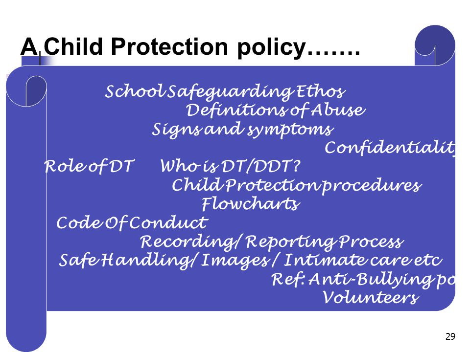29 A Child Protection policy…….