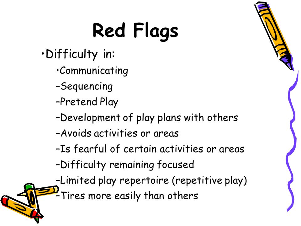 Difficulty in: Communicating –Sequencing –Pretend Play –Development of play plans with others –Avoids activities or areas –Is fearful of certain activ