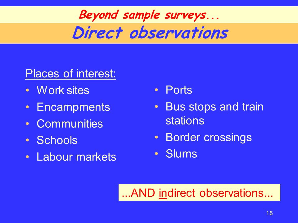 Direct observations Places of interest: Work sites Encampments Communities Schools Labour markets Ports Bus stops and train stations Border crossings