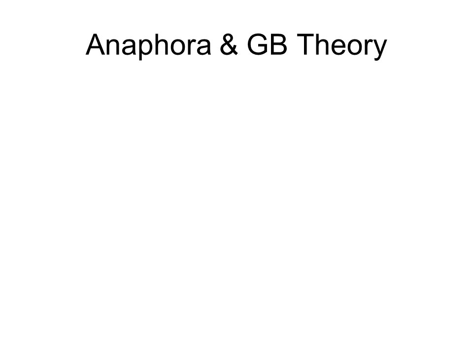 Anaphora & GB Theory