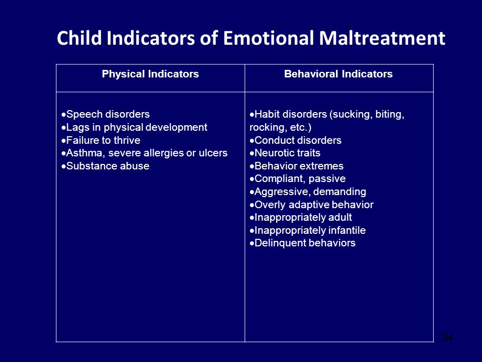 34 Child Indicators of Emotional Maltreatment Physical IndicatorsBehavioral Indicators  Speech disorders  Lags in physical development  Failure to