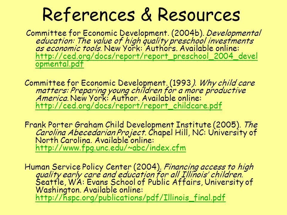 References & Resources Committee for Economic Development.