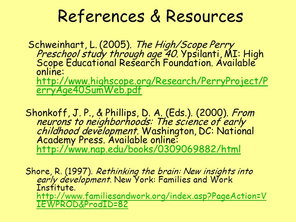 References & Resources Schweinhart, L. (2005).