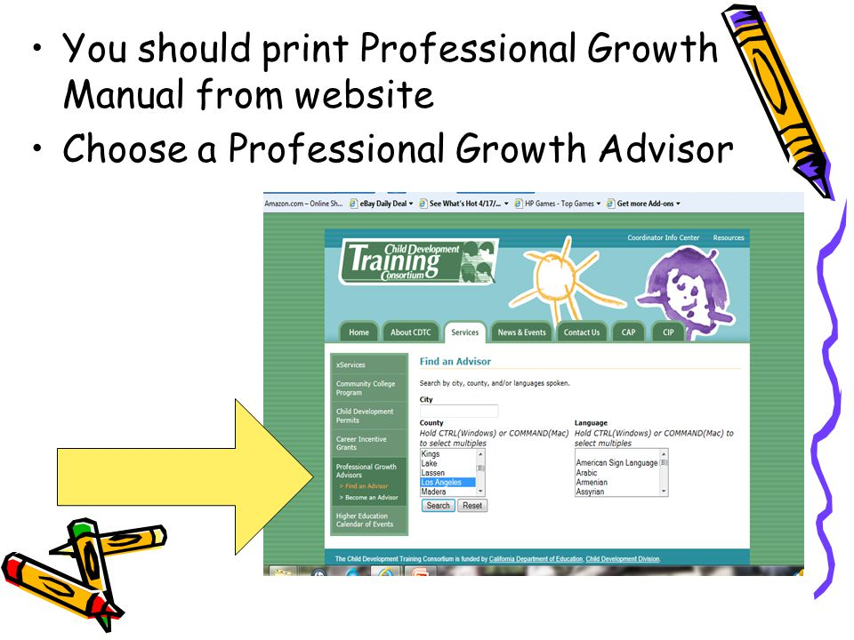 You should print Professional Growth Manual from website Choose a Professional Growth Advisor