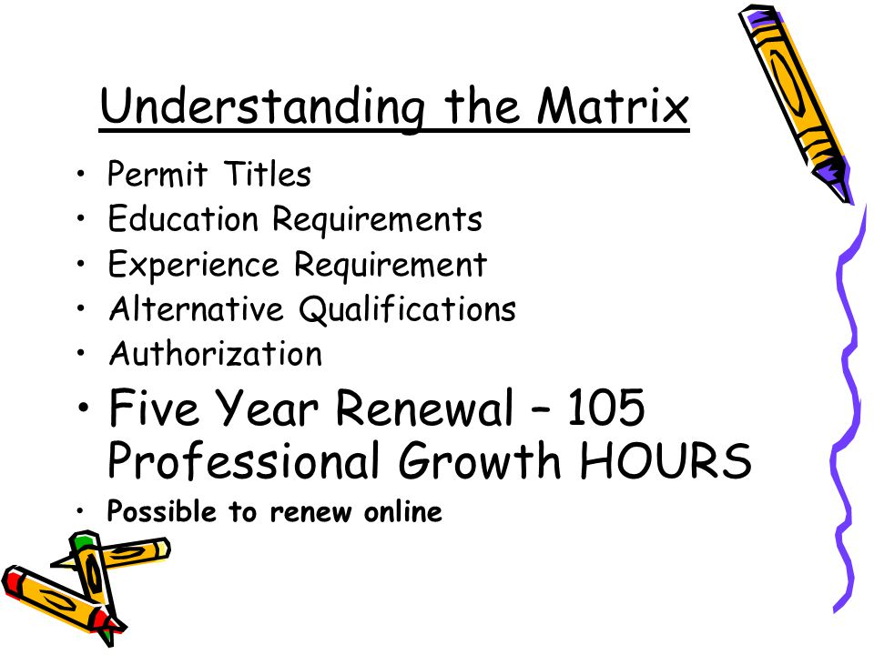Understanding the Matrix Permit Titles Education Requirements Experience Requirement Alternative Qualifications Authorization Five Year Renewal – 105