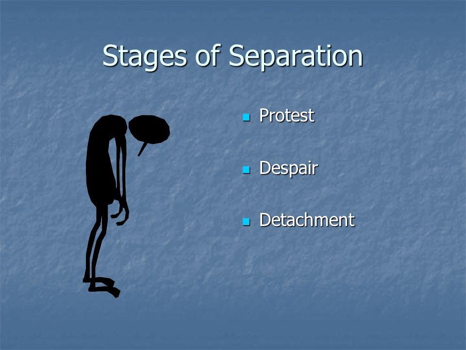 Stages of Separation Protest Protest Despair Despair Detachment Detachment