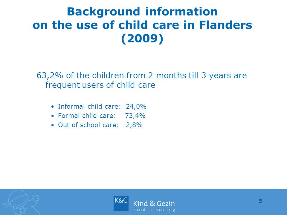 5 Background information on the use of child care in Flanders (2009) 63,2% of the children from 2 months till 3 years are frequent users of child care Informal child care: 24,0% Formal child care: 73,4% Out of school care: 2,8%