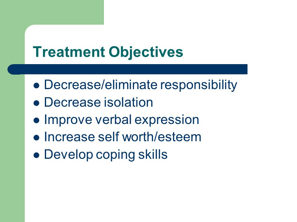 Treatment Objectives Decrease/eliminate responsibility Decrease isolation Improve verbal expression Increase self worth/esteem Develop coping skills