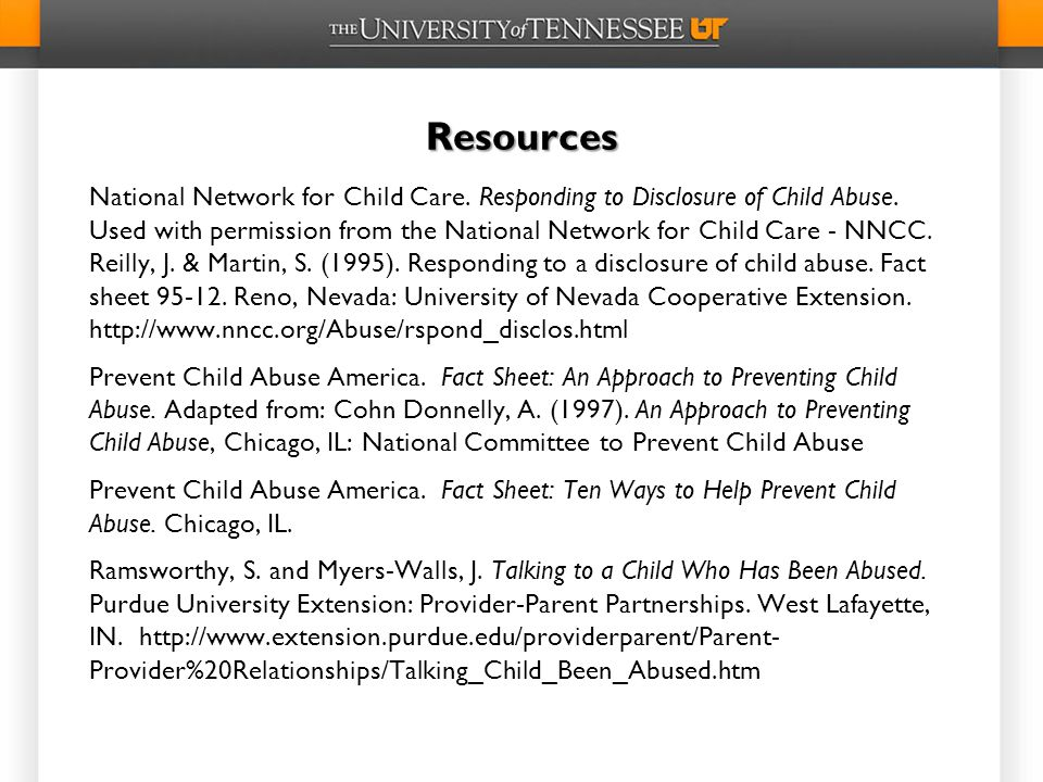 Resources National Network for Child Care.Responding to Disclosure of Child Abuse.
