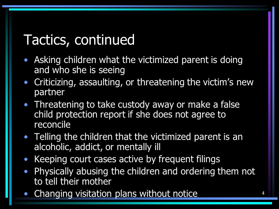 5 When a battered parent is protected from abuse, she then is better able to protect her abused child.