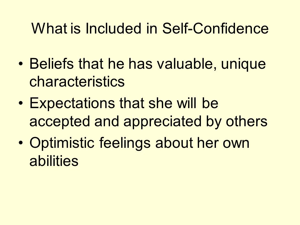 What is Included in Self-Confidence Beliefs that he has valuable, unique characteristics Expectations that she will be accepted and appreciated by oth