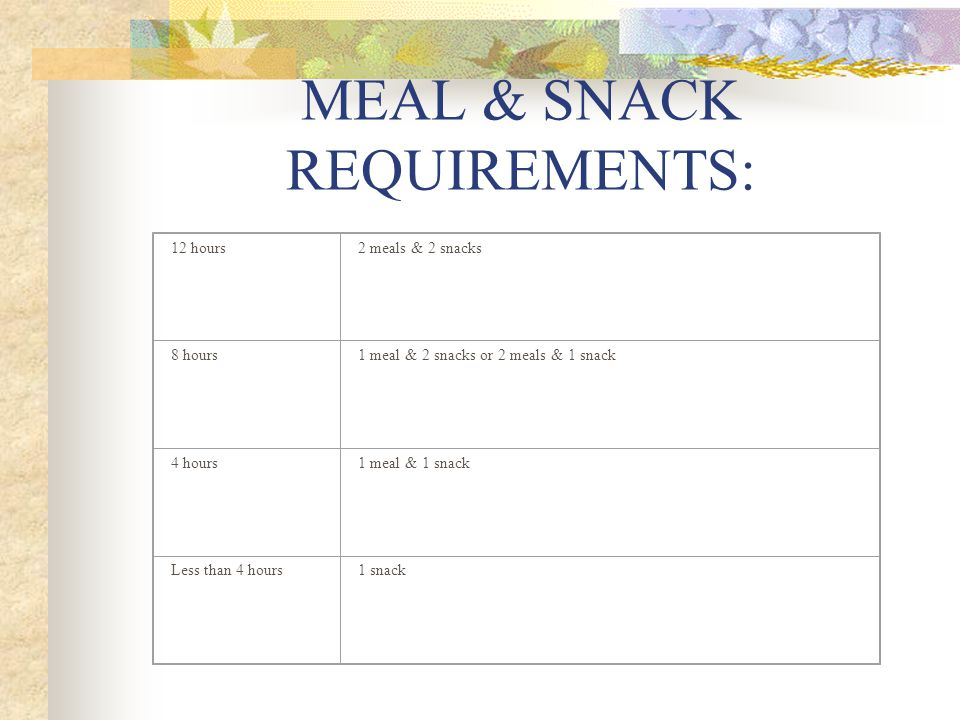 MEAL & SNACK REQUIREMENTS: 12 hours2 meals & 2 snacks 8 hours1 meal & 2 snacks or 2 meals & 1 snack 4 hours1 meal & 1 snack Less than 4 hours1 snack