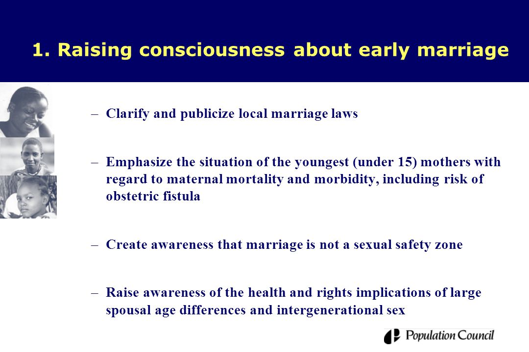 1. Raising consciousness about early marriage –Clarify and publicize local marriage laws –Emphasize the situation of the youngest (under 15) mothers w