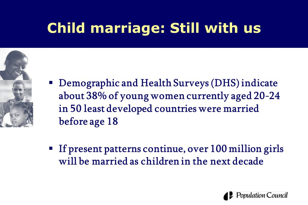 Child marriage: Still with us  Demographic and Health Surveys (DHS) indicate about 38% of young women currently aged 20-24 in 50 least developed countries were married before age 18  If present patterns continue, over 100 million girls will be married as children in the next decade