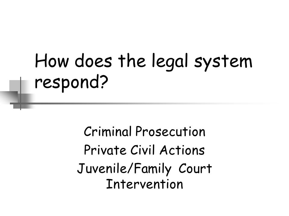 How does the legal system respond? Criminal Prosecution Private Civil Actions Juvenile/Family Court Intervention