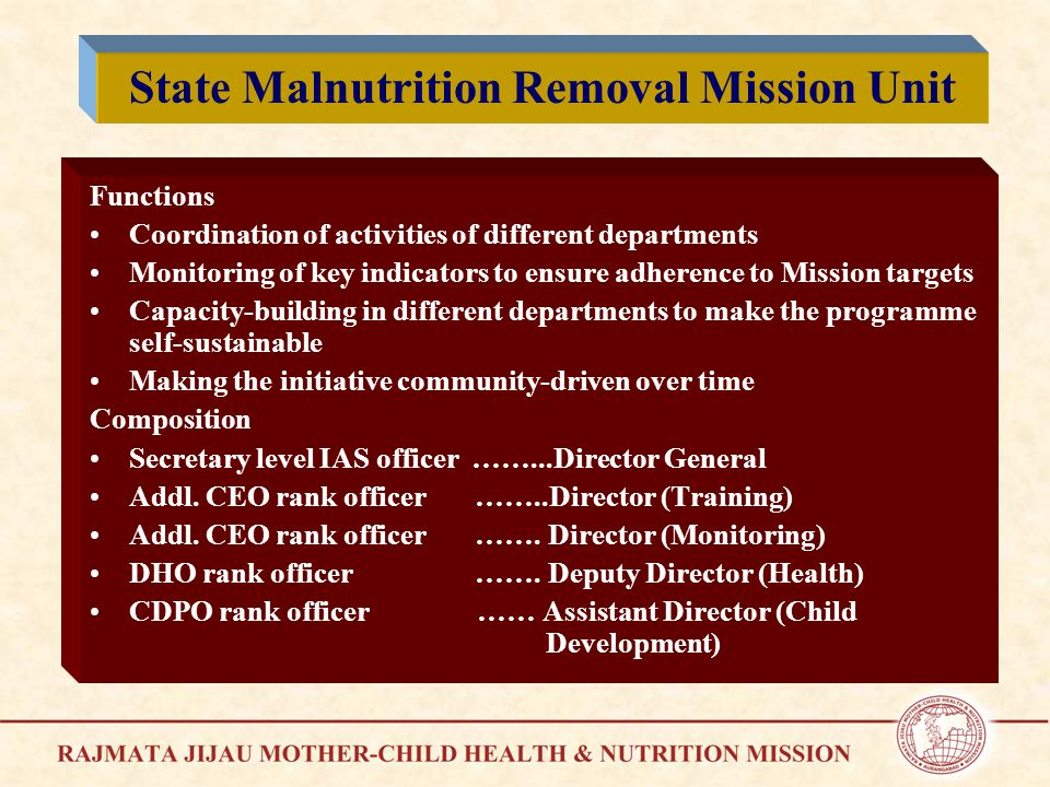 Functions Coordination of activities of different departments Monitoring of key indicators to ensure adherence to Mission targets Capacity-building in different departments to make the programme self-sustainable Making the initiative community-driven over time Composition Secretary level IAS officer ……...Director General Addl.