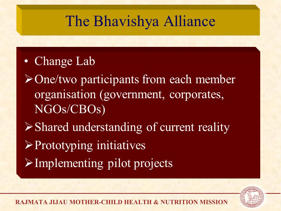The Bhavishya Alliance Change Lab  One/two participants from each member organisation (government, corporates, NGOs/CBOs)  Shared understanding of current reality  Prototyping initiatives  Implementing pilot projects