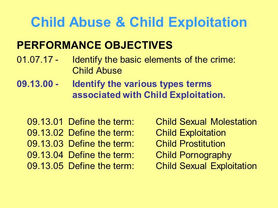 Child Abuse & Child Exploitation PERFORMANCE OBJECTIVES 01.07.17 -Identify the basic elements of the crime: Child Abuse 09.13.00 -Identify the various