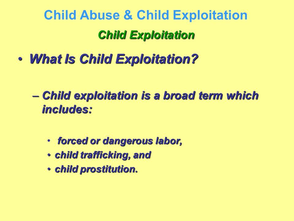 Child Exploitation Child Abuse & Child Exploitation Child Exploitation What Is Child Exploitation?What Is Child Exploitation? –Child exploitation is a
