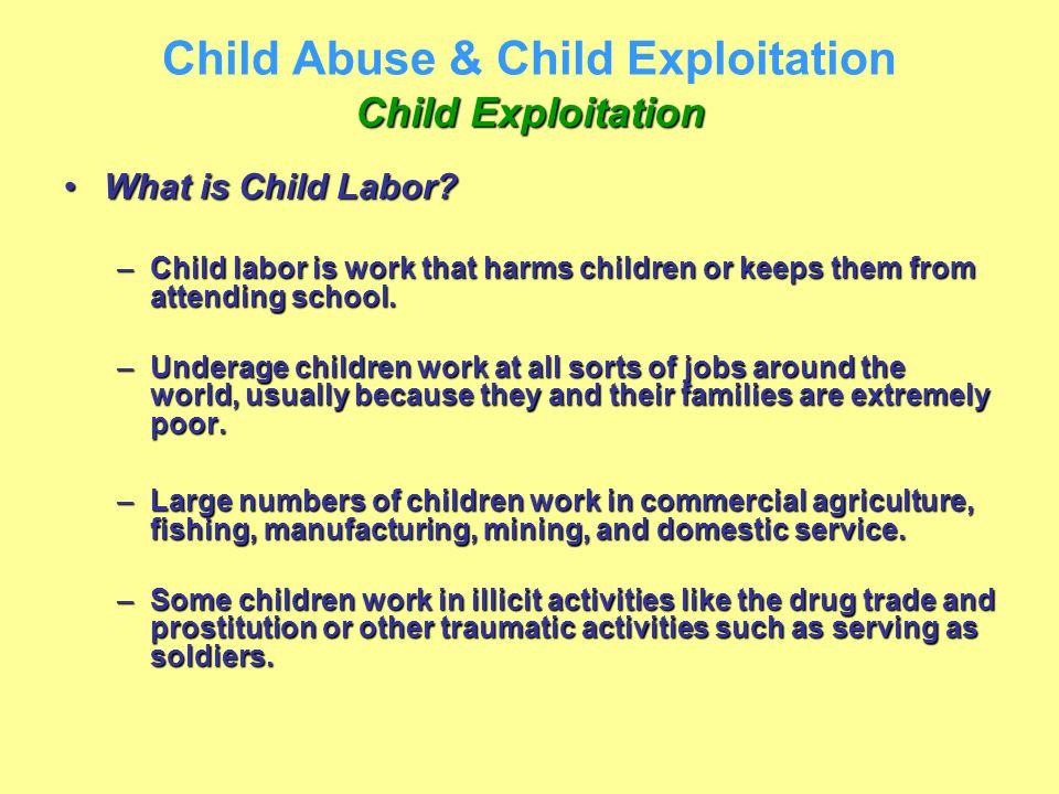 Child Exploitation Child Abuse & Child Exploitation Child Exploitation What is Child Labor?What is Child Labor? –Child labor is work that harms childr