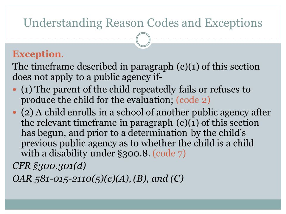 Understanding Reason Codes and Exceptions Exception.