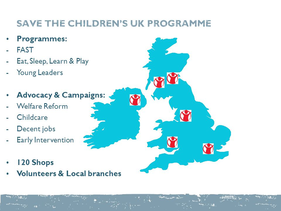 Save the children's UK PROGRAMME Programmes: - FAST -Eat, Sleep, Learn & Play - Young Leaders Advocacy & Campaigns: -Welfare Reform -Childcare - Decen