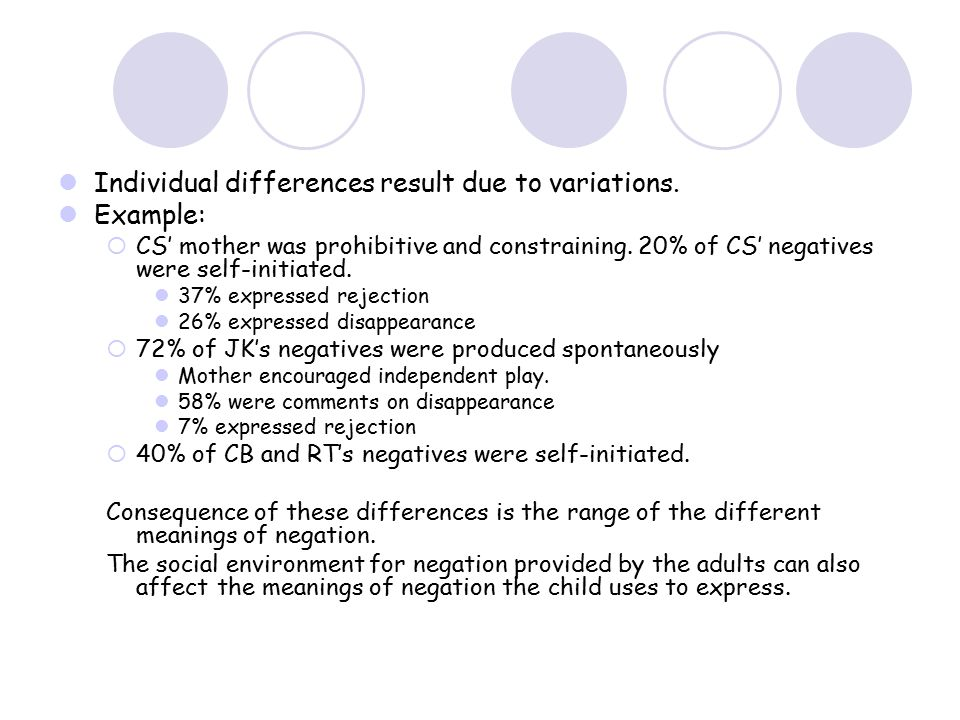 Individual differences result due to variations. Example:  CS' mother was prohibitive and constraining. 20% of CS' negatives were self-initiated. 37%