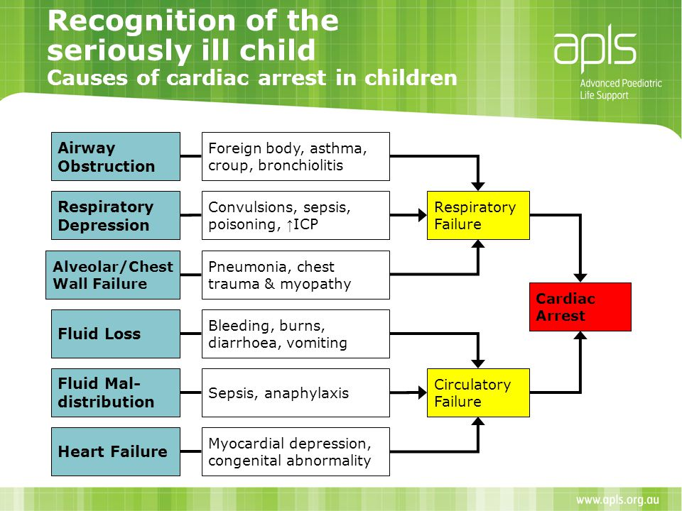 Recognition of the seriously ill child Causes of cardiac arrest in children Airway Obstruction Respiratory Depression Alveolar/Chest Wall Failure Flui