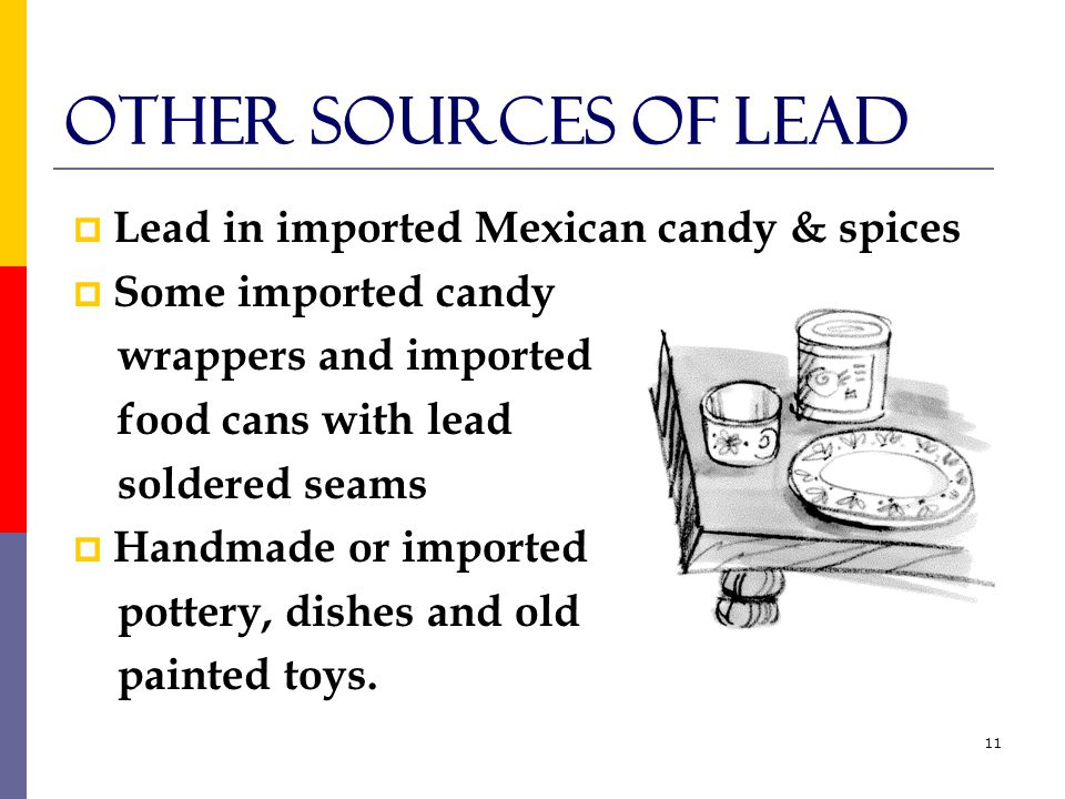 11 Other Sources of lead  Lead in imported Mexican candy & spices  Some imported candy wrappers and imported food cans with lead soldered seams  Handmade or imported pottery, dishes and old painted toys.