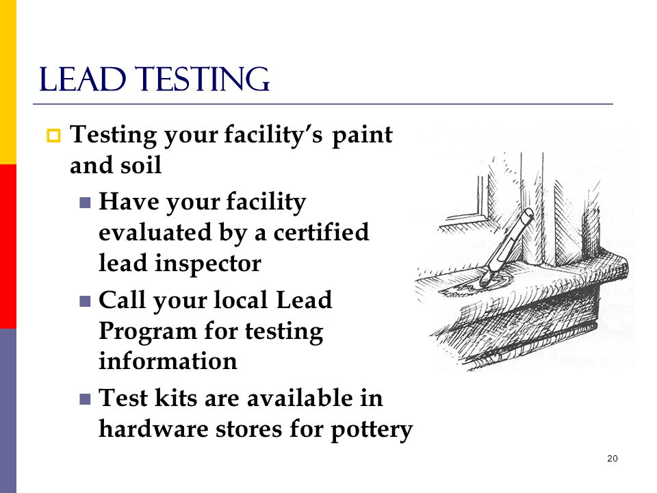 20 Lead testing  Testing your facility's paint and soil Have your facility evaluated by a certified lead inspector Call your local Lead Program for testing information Test kits are available in hardware stores for pottery