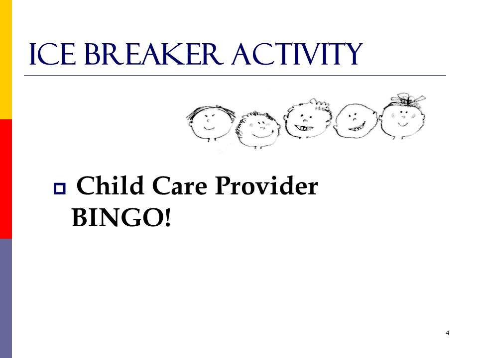 4 Ice Breaker Activity  Child Care Provider BINGO!