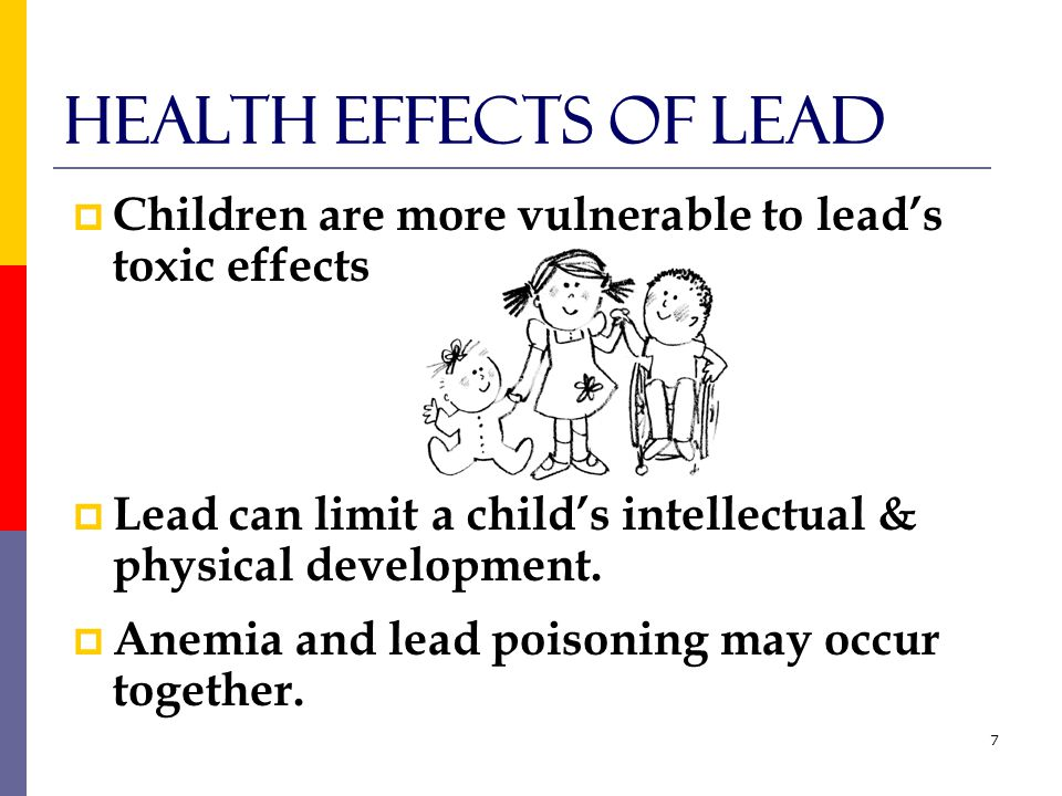 18 Lead and Nutrition  Calcium and iron can help prevent the absorption of lead  A full stomach reduces the amount of lead absorbed by the body  Feed children three regular meals  Offer nutritious snacks between meals and foods high in calcium and iron