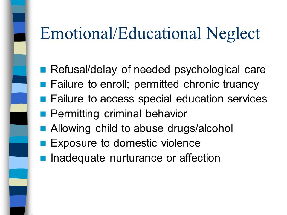Impact of Physical Abuse Aggression, reactive anger Oppositional behavior Social immaturity Attachment problems Posttraumatic stress Violent play Developmental delays Neurological impairment Poor problem-solving Physical injury, death